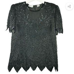 Black beaded short sleeve Denie Elle top. L